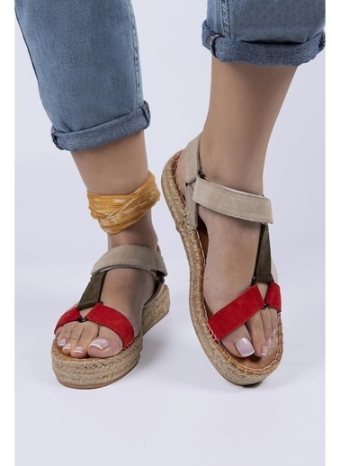Female Project Kırmızı-Vizon-Gri Hakiki Deri Cırtlı Sandalet Kırmızı